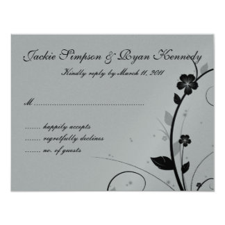 "Black & Silver RSVP Card Floral Wall 4.25"" X 5.5"" Invitation Card"