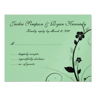 "Black & Silver RSVP Card Floral Wall Green 4.25"" X 5.5"" Invitation Card"