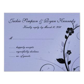 "Black & Silver RSVP Card Floral Wall Mauve 4.25"" X 5.5"" Invitation Card"