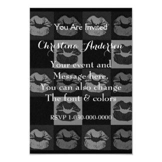 "Black Silver Sassy Lips 3.5"" X 5"" Invitation Card"