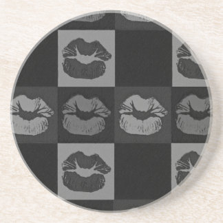 Black Silver Sassy Lips Beverage Coasters