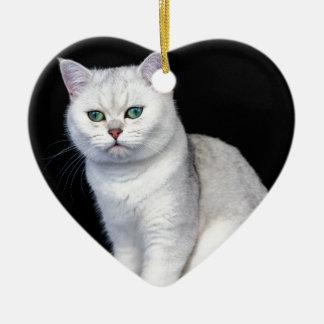 Black silver shaded British short hair cat Ceramic Heart Ornament