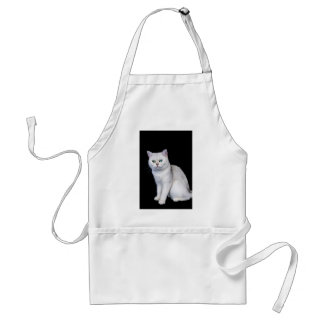 Black silver shaded British short hair cat Standard Apron