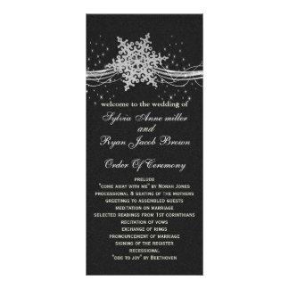black Silver Snowflakes wedding programs length Rack Card Design