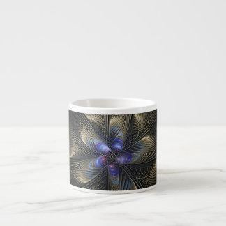 Black Silver Spirals Fractal Art Espresso Mug