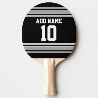 Black Silver Sports Jersey with Your Name & Number Ping Pong Paddle