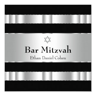"Black Silver Star of David Bar Mitzvah 5.25"" Square Invitation Card"
