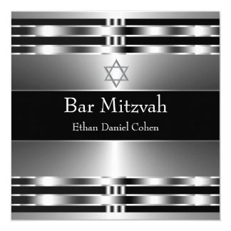 Black Silver Star of David Bar Mitzvah Card