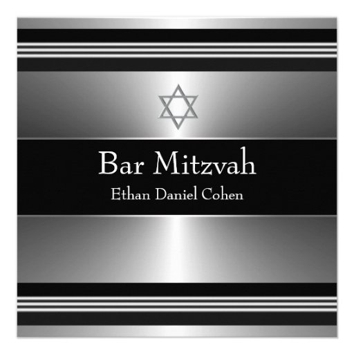 Black Silver Star of David Bar Mitzvah Personalized Announcements