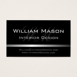 Black & Silver Stripe Professional Business Card