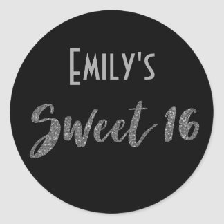 Black Silver Sweet 16 with Name Classic Round Sticker