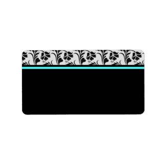 Black Silver Teal Floral Address Label