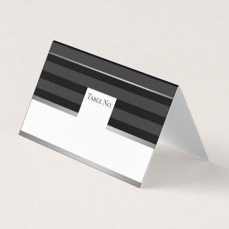 Black Silver Tuxedo Stripe Guest Table Number Card