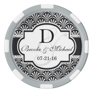 Black & Silver Vintage Art Deco Wedding Poker Chips
