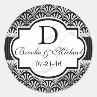 Black & Silver Vintage Art Deco Wedding Round Stickers