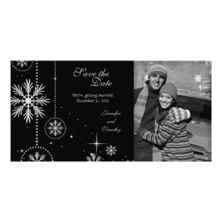 Black silver winter wedding save the date photo card
