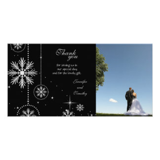Black silver winter wedding thank you photocard card