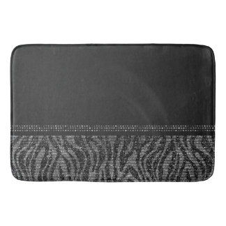 Black & Silver Zebra Wild Animal Print Exotic Glam Bath Mat
