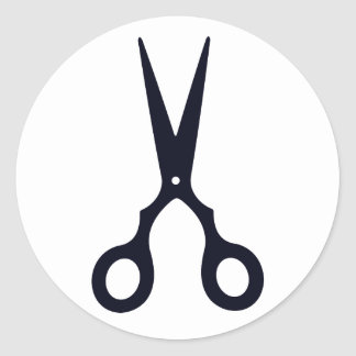 Black Simple Hair Scissors (Barber / Hairdresser) Round Sticker