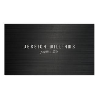 Black Simple Metallic Brushed Aluminum Look Business Card