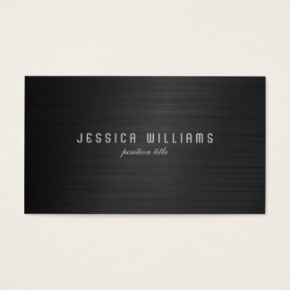 Black Simple Metallic Brushed Aluminum Look Business Card