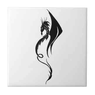 Black Simple Tribal Dragon Tile