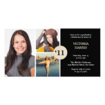 Black simply collage class of grad announcement customized photo card