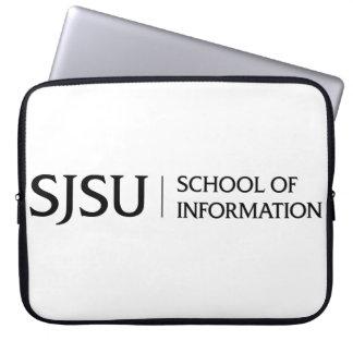 Black SJSU iSchool logo laptop sleeve