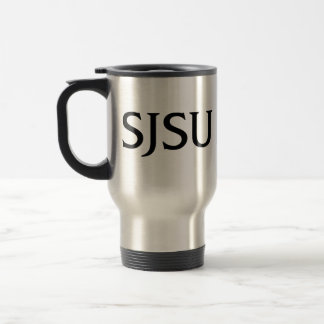 Black SJSU iSchool logo travel mug