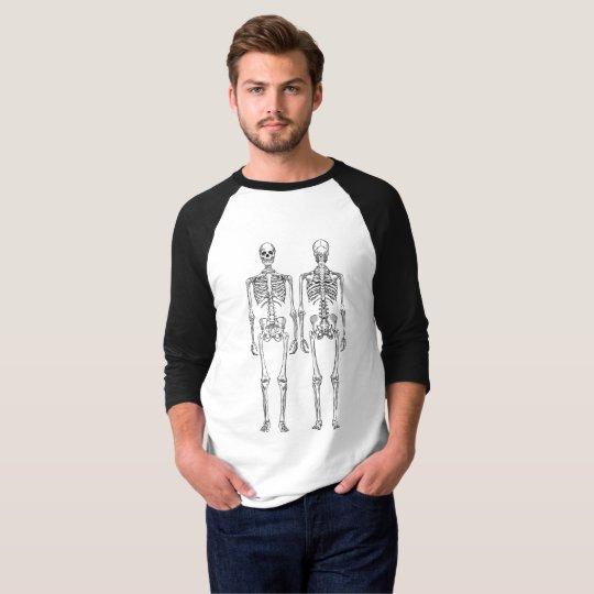 Black Skeleton Graphic 3/4 Sleeve T-Shirt
