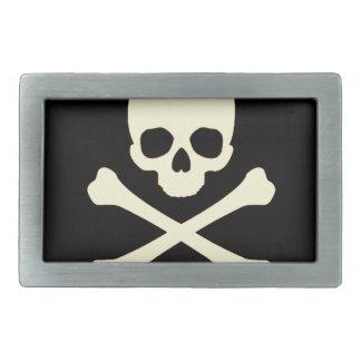 black skull and bones belt buckle