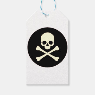 black skull and bones gift tags