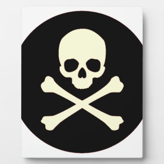 black skull and bones plaque