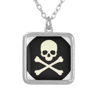 black skull and bones silver plated necklace