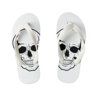 Black Skull Laughter Kid's Flip Flops
