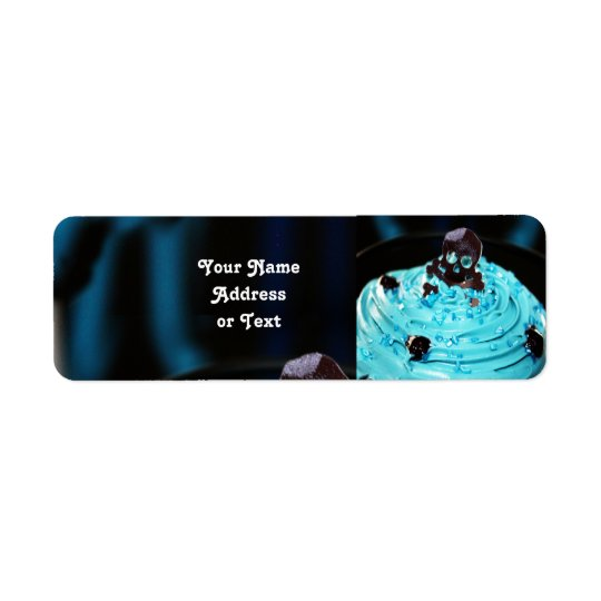 Black Skull on Blue Icing Cupcake Return Address Label
