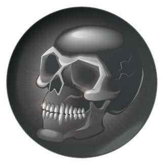 Black skull party plate