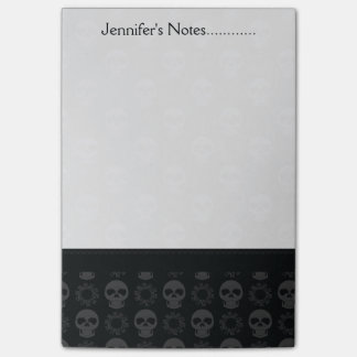 Black Skulls And Gears Pattern With Border Post-it Notes