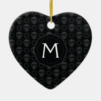 Black Skulls And Gears Pattern With Initial Ceramic Heart Ornament