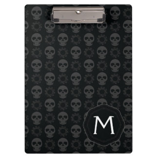 Black Skulls And Gears Pattern With Initial Clipboard