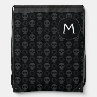 Black Skulls And Gears Pattern With Initial Drawstring Bag