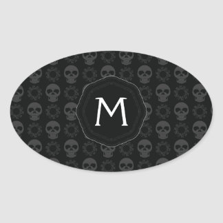 Black Skulls And Gears Pattern With Initial Oval Sticker