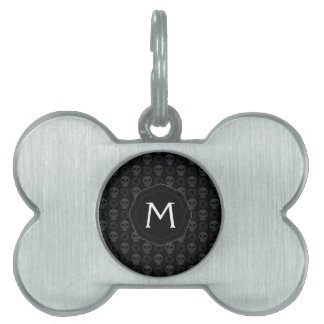Black Skulls And Gears Pattern With Initial Pet Tag