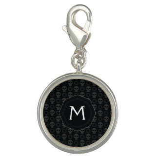 Black Skulls And Gears Pattern With Initial Photo Charms