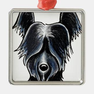 Black Skye Terrier Portrait Custom Metal Ornament