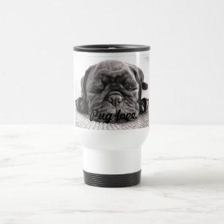 Black sleeping pug travel mug