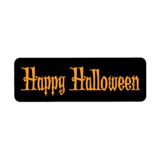 Black Small Halloween Labels Happy Halloween