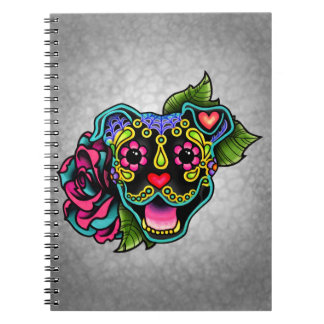 Black Smiling Pit Bull Day of the Dead Sugar Skull Spiral Notebook