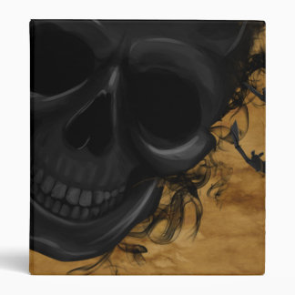 Black Smiling Skull surrounded by Bats and Smoke Binder