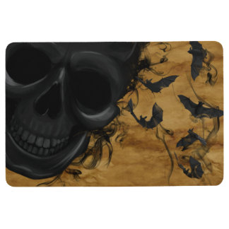 Black Smiling Skull surrounded by Bats and Smoke Floor Mat